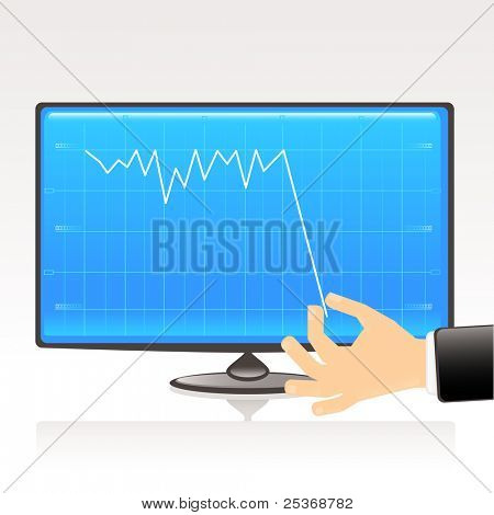 Bankruptcy concept. Business graph showing financial report on computer display, vector illustration