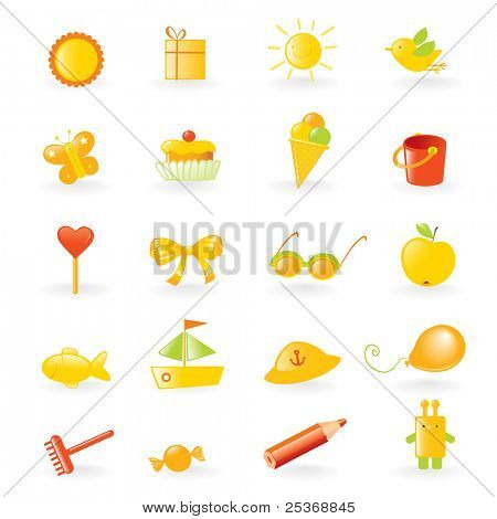 children favorites objects collection, vector set isolated on white background