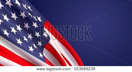Background With Waving Realistic American Flag On Dark Blue Background.vector Template For Usa Patri