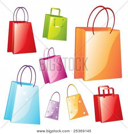 bunten Phantasie Einkaufstaschen vector Illustration auf weißem Hintergrund