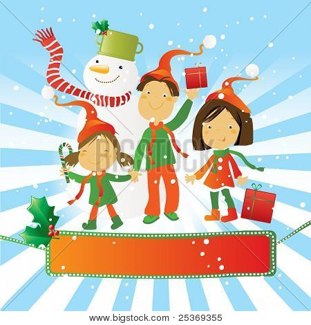 happy kids with snowman celebrating a winter day. And a nice seasonal banner for your text.