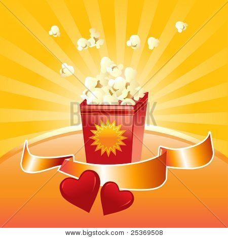 popcorn springing out from the box, shinny label and red hearts vector illustration
