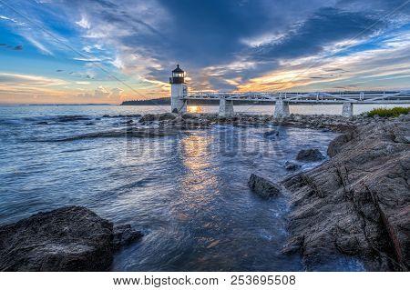 Waves Crashing At Marshall Point Lighthouse Sunset - Port Clyde, Maine, Usa