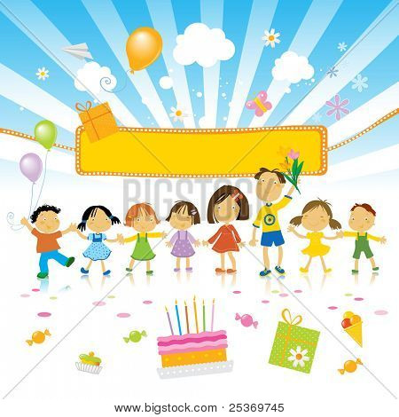 group of kids celebrating, birthday cake and party banner