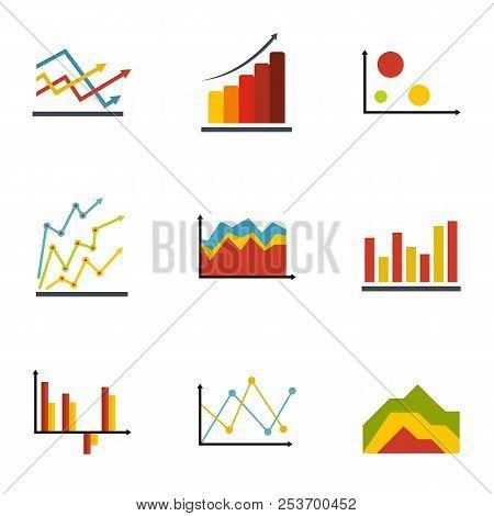 Economic Table Icons Set. Flat Set Of 9 Economic Table Icons For Web Isolated On White Background