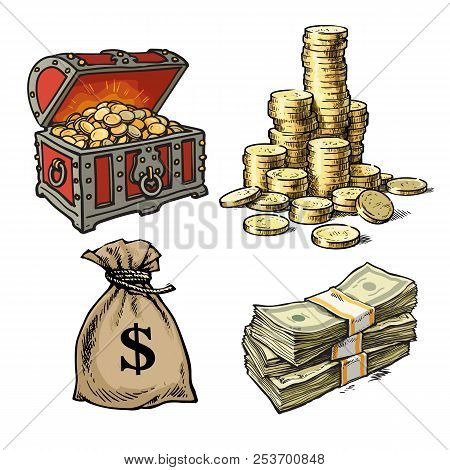 Chest With Treasures, Stack Of Coins, Sack Of Dollars, Stack Of Dollar Bills. Vector.