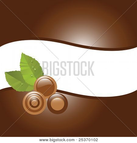 Assorted chocolate candies and mint leaves, vector illustration