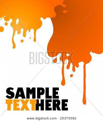 drips of orange paint vector background