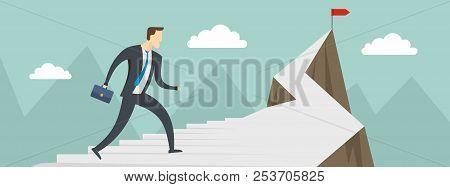Man Career Banner. Flat Illustration Of Man Career Banner For Web