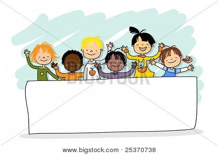 kids of different ethnicity with blank banner, grouped and layered for easy editing