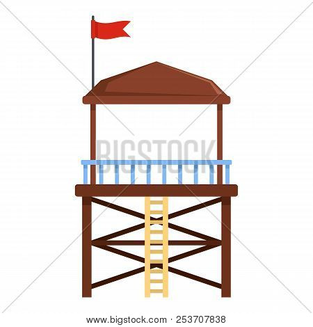 Rescue Tower Icon. Flat Illustration Of Rescue Tower Icon For Web