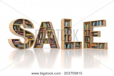 Sale from bookshelf with book in form of letters isolated on white background. Back to school sales concept. 3d illustration