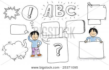 school kid with cartoon speech bubble and blank signs