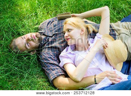 Guy And Girl Dreamy Relaxed Enjoy Tranquility Nature. Couple In Love Relaxing Outdoors. Take Minute
