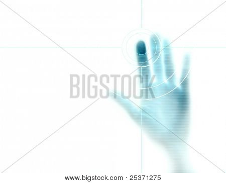 high-tech technology background with targeted fingerprint on computer display