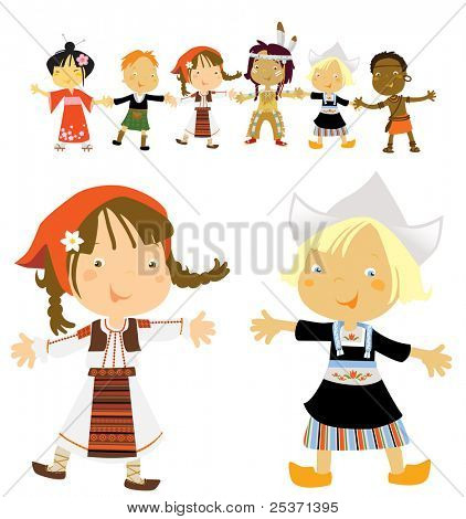 traditional costumes, romanian and dutch girl in front