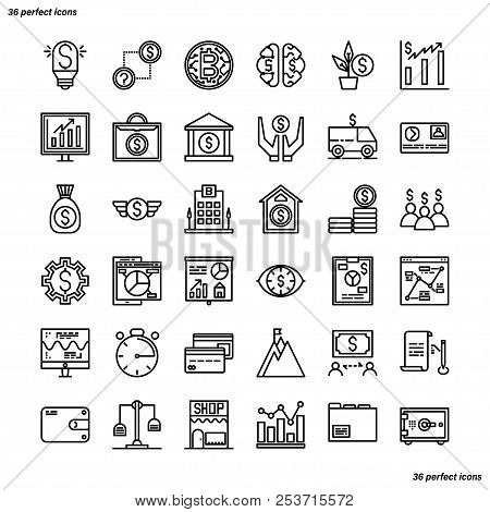 Banking And Financial Outline Icons Perfect Pixel. Use For Website, Template,package, Platform. Conc