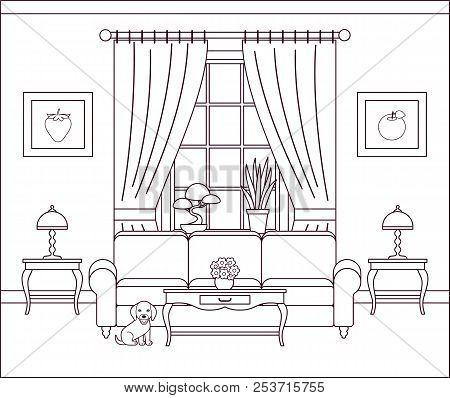 Living Room Interior. Vector Illustration. Outline Sketch. Home Flat Design With Furniture, Window,