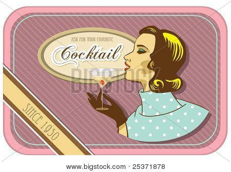 retro woman cocktail vintage label