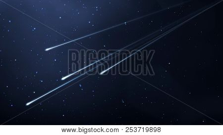 An illustration of some shooting stars in the night sky