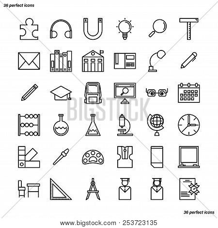 Education And Learning Outline Icons Perfect Pixel. Use For Website, Template,package, Platform. Con