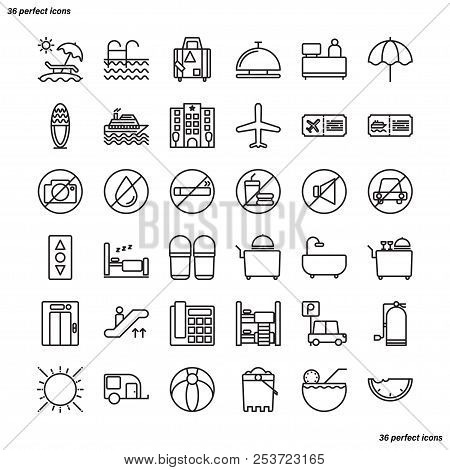 Holiday Outline Icons Perfect Pixel. Use For Website, Template,package, Platform. Concept Business O