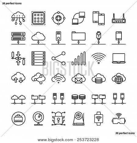 Computer Networks And Database Outline Icons Perfect Pixel. Use For Website, Template,package, Platf