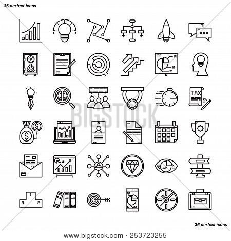 Business Element Outline Icons Perfect Pixel. Use For Website, Template,package, Platform. Concept B