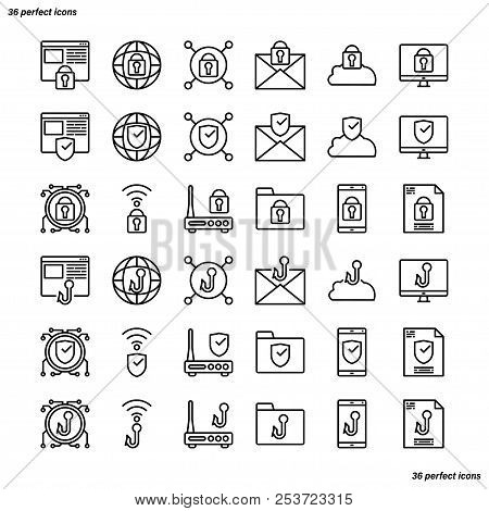 Internet Security Outline Icons Perfect Pixel. Use For Website, Template,package, Platform. Concept