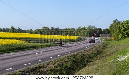 European Route 22, Sweden On May 14. View Of The Traffic During An Afternoon Day On May 14, 2018 Nor