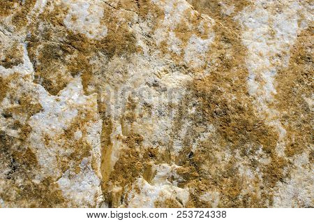 Background Of White Granular Calcite With Veins And Films Of Limonite
