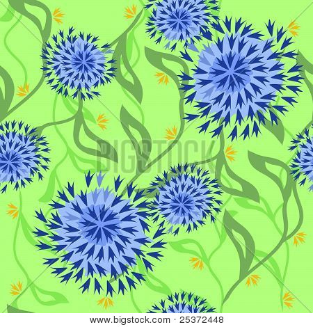 Floral pattern with seamless leaves
