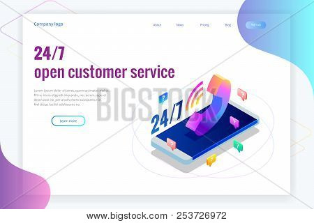 Web Page Design Templates For Call Center Support 24-7. Isometric 24 Hours Open Customer Service. Ve