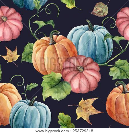 Watercolor Leaves And Bright Pumpkin Seamless Pattern. Hand Painted Autumn Pumpkin Ornament With Bra