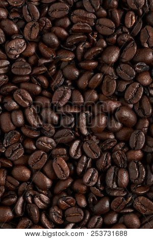 Texture Roasted Coffee Beans, Can Be Used As A Background. Brown Coffee Beans, Close-up Of Coffee Be