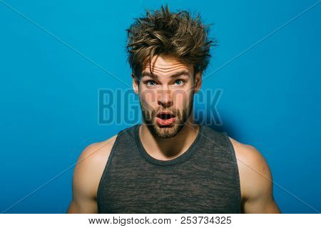 Morning Concept. Bachelor With Unshaven Face And Messy Hair In Morning. Surprised Guy Awaken In Morn