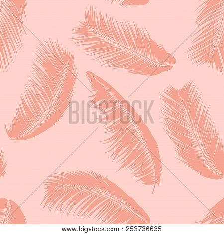 Tropical Palm Tree Leaves. Vector Seamless Pattern. Simple Silhouette Coconut Leaf Sketch. Summer Fl