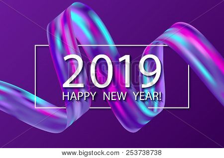 ultra violet 2019 happy new year card with colorful purple cyan blue gradient ribbon design element
