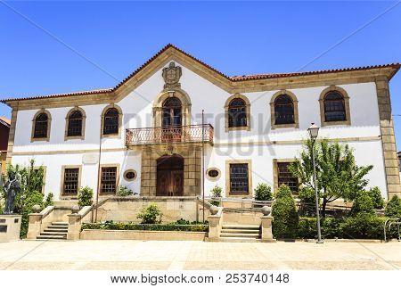 Vila Nova De Foz Coa, Portugal - June 19, 2018:  Facade Of The City Hall, A Nineteenth Century Baroq
