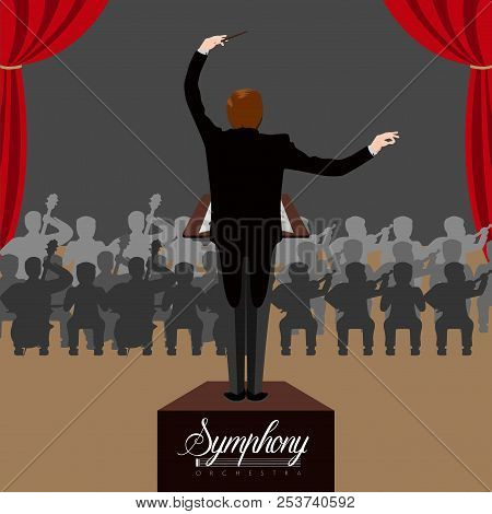 Isolated Director Witn Orchestra Background. Vector Illustration Design