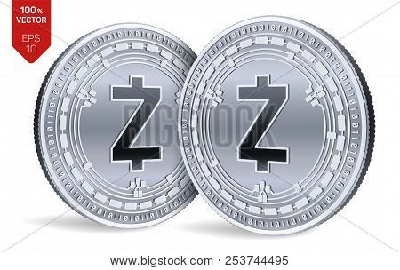 Zcash. Crypto Currency. 3d Isometric Physical Coins. Digital Currency. Silver Coins With Zcash Symbo