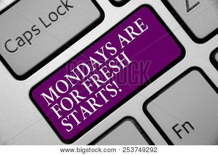 Word Writing Text Mondays Are For Fresh Starts. Business Concept For Begin Again Every Week Have A G