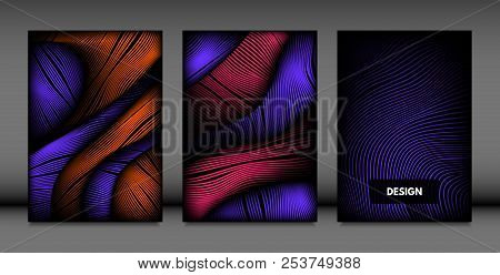 Abstract Wave Shapes. Cover Design Templates Set With Vibrant Gradient And Volume Effect In Futurist