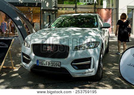 Berlin - June 09, 2018: Compact Luxury Crossover Suv Jaguar F-pace R, 2018. Classic Days Berlin 2018
