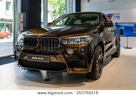 Berlin - June 09, 2018: Showroom. Mid-size Luxury Crossover Suv Bmw X6 M.