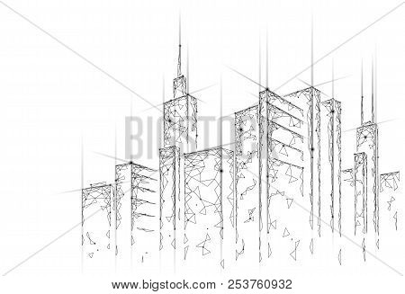 Low Poly Smart City 3d Wire Mesh. Intelligent Building Automation System Business Concept. Web Onlin