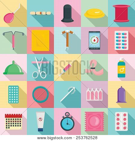 Contraception Day Control Pill Medication Oral Test Icons Set. Flat Illustration Of 25 Contraception