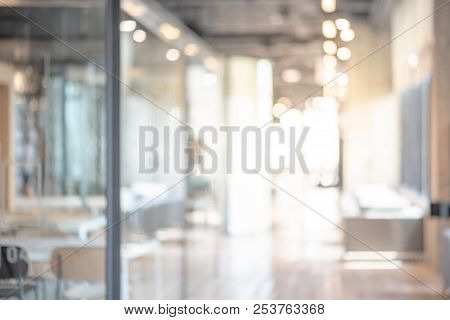 Abstract Blurred Office Interior Room. Blurry Working Space With Defocused Effect. Use For Backgroun
