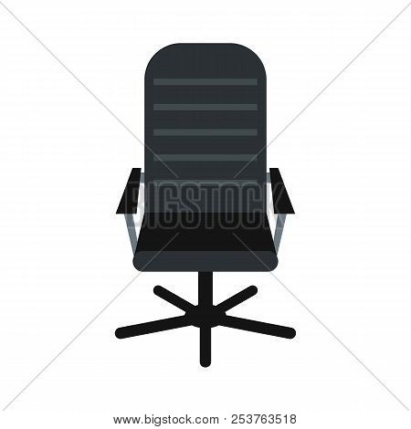 Office Leather Chair Icon In Flat Style Isolated On White Background. Furniture Symbol Illustration