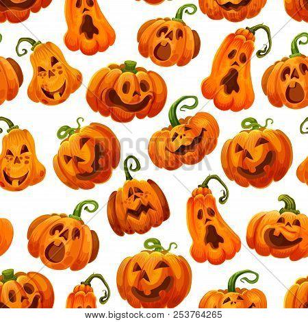 Halloween Pumpkin Monster Seamless Pattern For October Holiday Background. Orange Jack O Lantern Bac